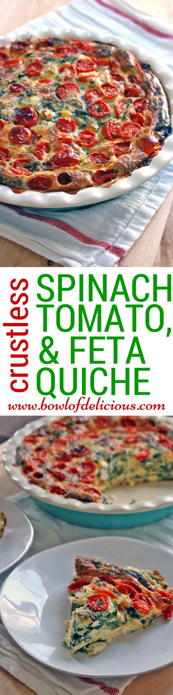 Crustless Spinach Tomato and Feta Quiche \\ This easy quiche is packed ...