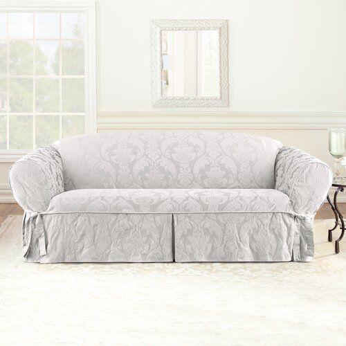 Matelasse Damask Box Cushion Loveseat Slipcover In 2020 Slipcovers For Chairs Slipcovered Sofa Cushions On Sofa