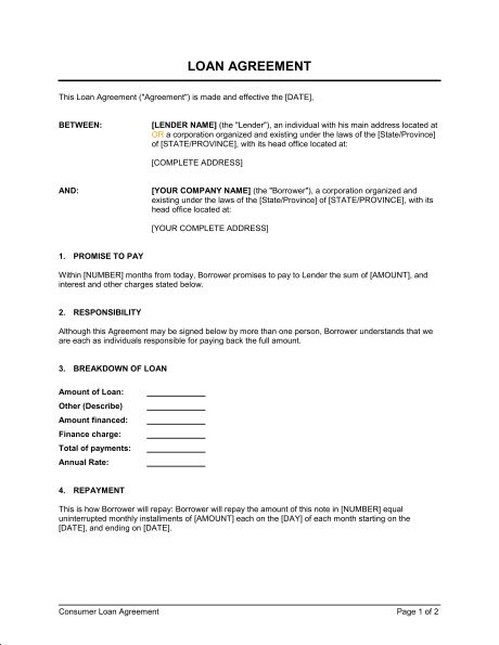 Printable Sample Business Loan Template Form – Promise to Pay Sample