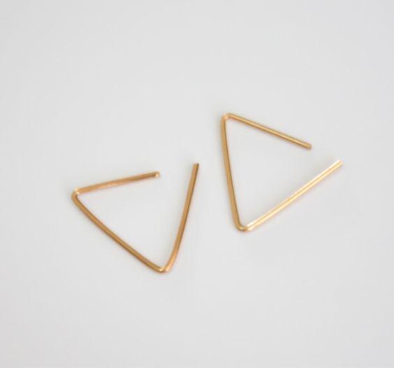 Thin Gold hoops, gold line earrings,  triangle hoop earrings, gold filled studs, simple hoop earrings, gold post stud, geometric earrings by miniLALI on Etsy https://www.etsy.com/listing/198421702/thin-gold-hoops-gold-line-earrings