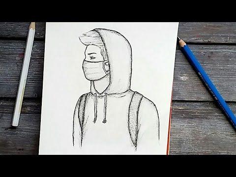 رسم سهل تعليم رسم ولد يرتدي كمامة بالرصاص للمبتدئين بطريقة سهلة وبسيطة رسم كيوت Youtube Easy Drawings Sketches Cool Drawings Pencil Drawings Easy