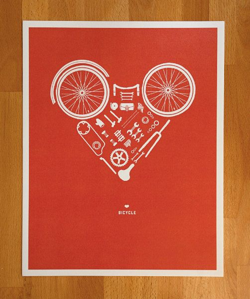 Disassembled Bicycle Heart Print