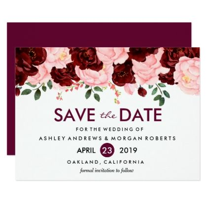 Garden Wedding Floral Save the Date for Burgundy Wedding or Outdoor Wedding featuring Watercolor Flowers and Offered Printable or Printed