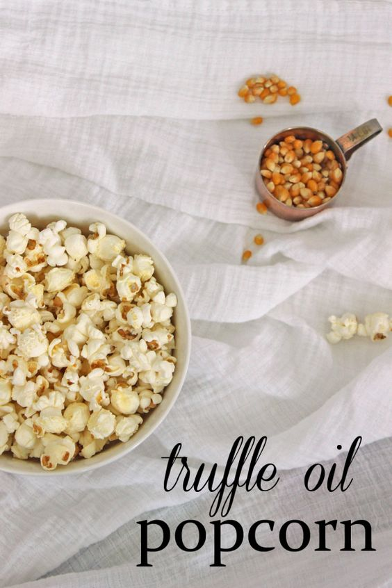 Truffle oil popcorn is the ultimate way to enjoy a snack!