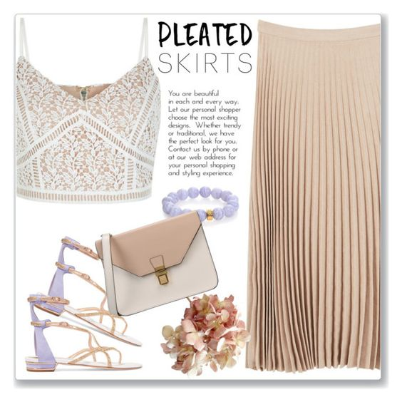 """Pleats, Please"" by andrejae ❤ liked on Polyvore featuring New Look, René Caovilla, Nest, MANGO, 8 and pleatedskirts"