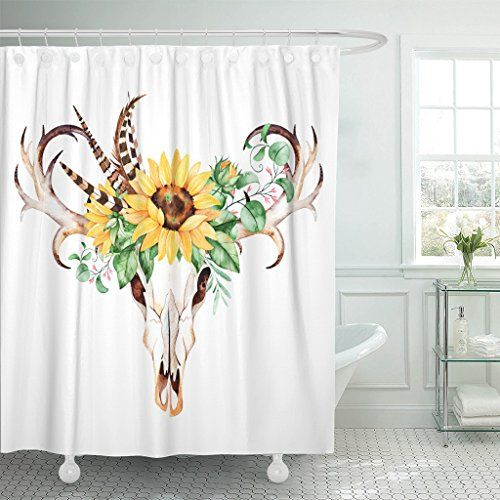 Emvency Skull Head Horns Entwined With Sunflowers Shower Curtain