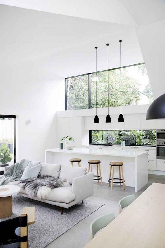 Simple open concept black white design