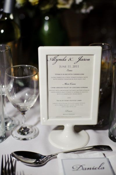 Mrs. Jaguar created home made menus for each table, using IKEA Tolby frames. #Sydney