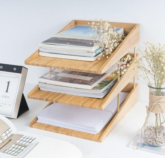 Bamboo 3-Layer File Tray Desk Organizer