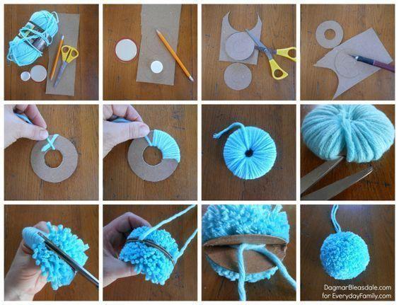 Bonitas ideas para decorar con pompones de lana | Tarjetas Imprimibles