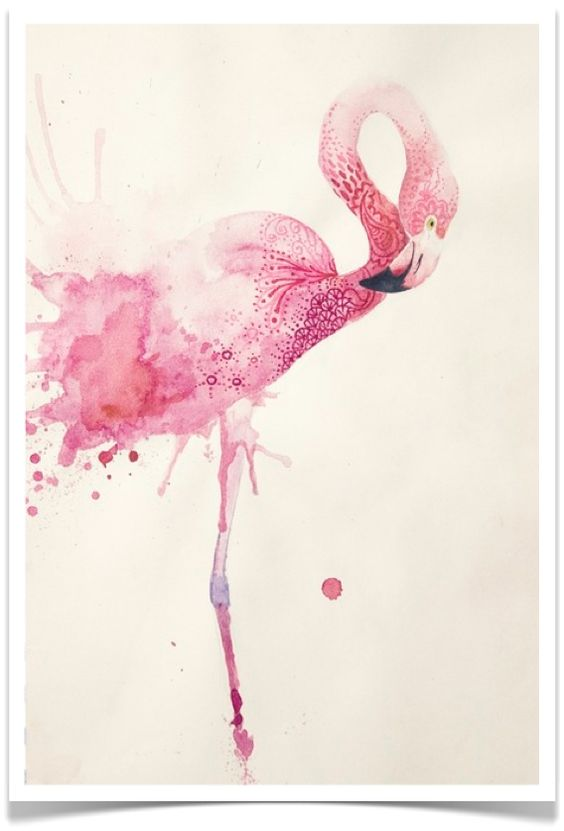 Flamants roses aquarelles and flamants roses on pinterest - Peinture rose pastel ...