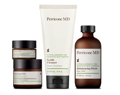 Productos cosméticos de la línea Hypoallergenic CBD Sensitive Skin Therapy de Perricone MD