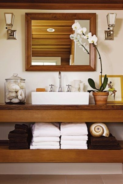 Valentines shelves and sink shelf on pinterest for Turn your bathroom into a spa