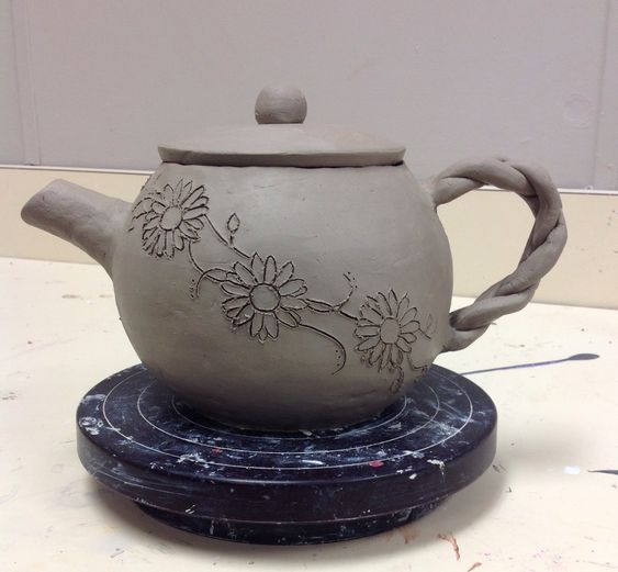 Hand built ceramic Tea Pot, still drying. High School Ceramics Class