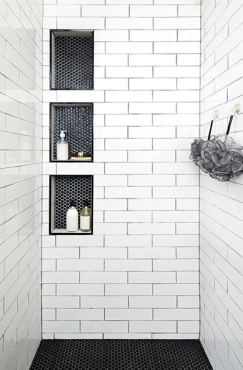 Triple Stacked Shower Niches With Black Hexagon Tiles Surround