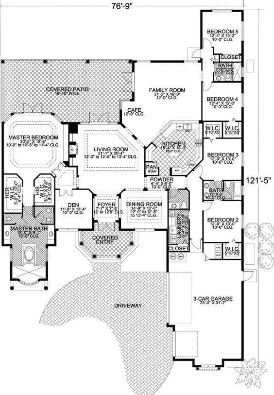 Plan 32194aa five versions to choose home design for 5 bedroom house plans with bonus room