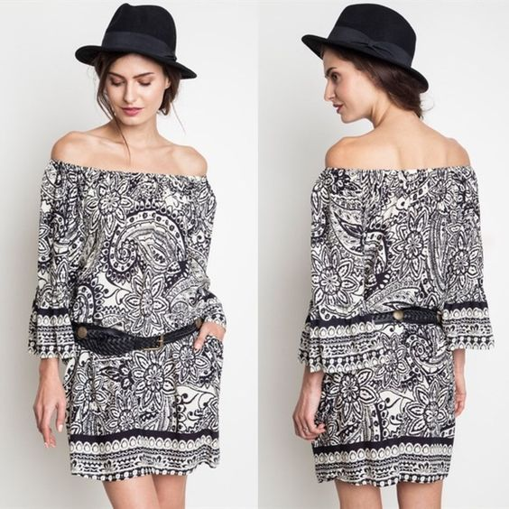 STACEY paisley off shoulder dress - BLACK Can also be worn on shoulders. BELT NOT INCLUDED. Bellanblue Dresses Midi