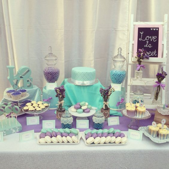 Pablo and Grace's backyard engagement party - Tiffany blue and purple DIY dessert table