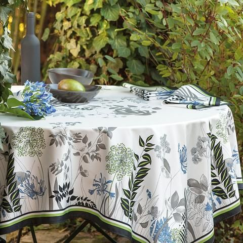 Beauville Tablecloth Orchidees Orchids Gray Au Bon Gout