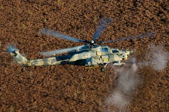 The Mil Mi-28NE firing its 2A42 30mm cannon.