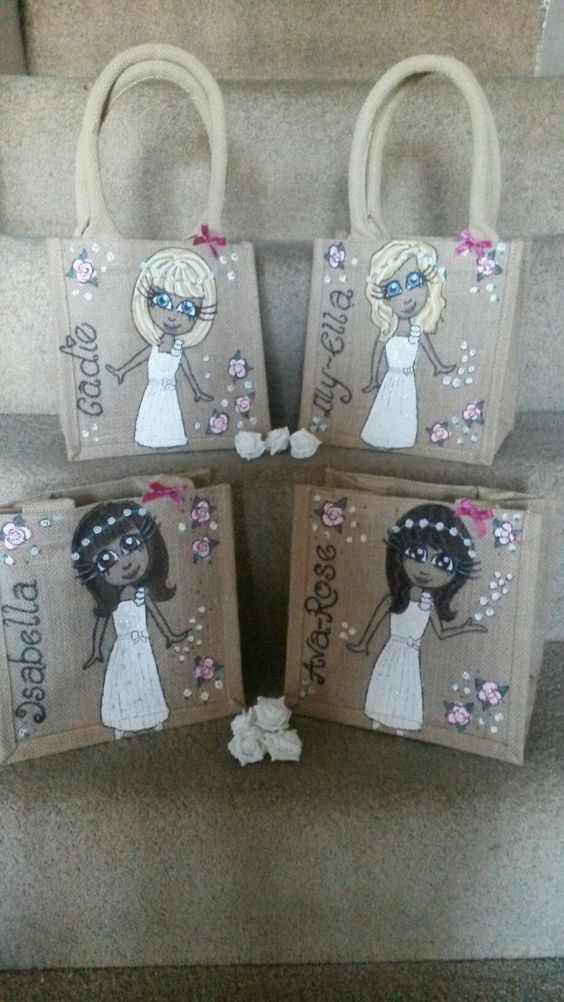 Flower girls - small jute bag