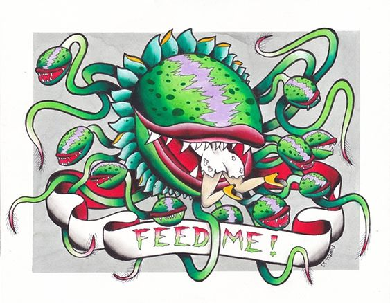 feed me, man eating plant, little shop of horrors, tattoo, flash, watercolor, print, japanese, traditional, old school, neo traditional