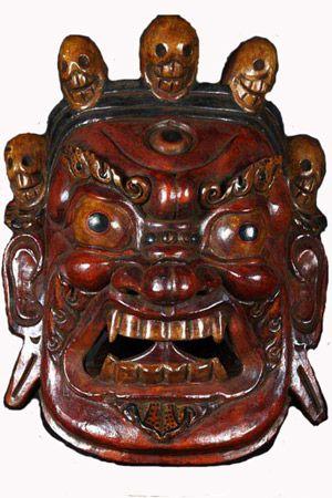 "SOLD Painted Nepalese Mahakala Mask 25"" Item #1n1  Price: $540.00"