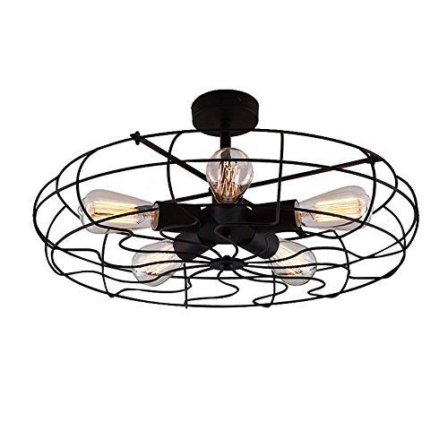 "Industrial Vintage Semi Flush Mount Ceiling Light - LITFAD 21"" Chandelier Barn Metal Hanging Fixture With 5 Lights Painted Finish, http://www.amazon.com/dp/B01KLXS93A/ref=cm_sw_r_pi_awdm_x_l2OfybH7BVV0P:"