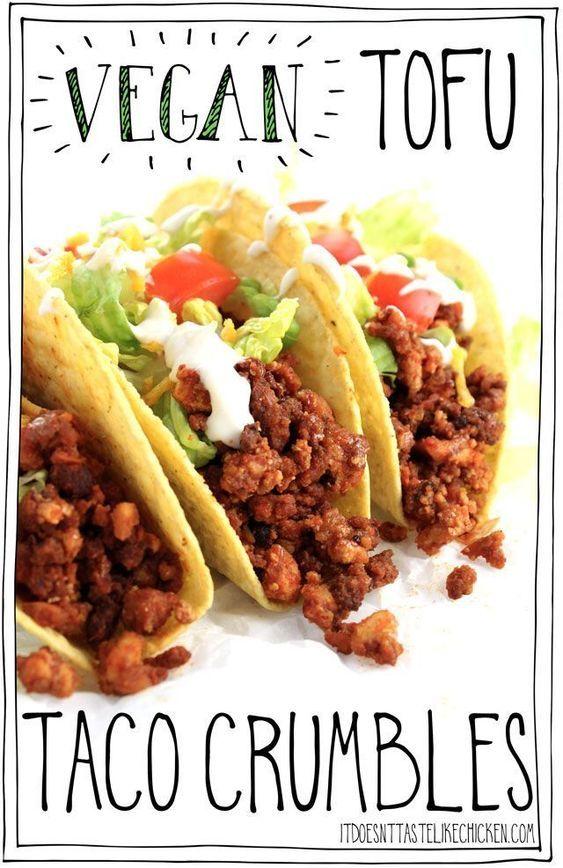 Vegan Tofu Taco Crumbles Recipe Tofu Tacos Whole Food Recipes Vegetarian Vegan Recipes
