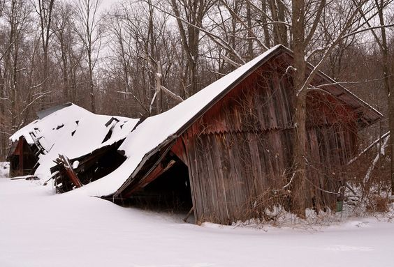 Collapsing Barn (cold+snap snow winter agriculture ). Photo by wb8erj