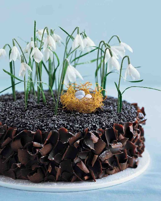 Chocolate Cake Recipes: A richly textured dessert is a fertile nesting ground for a miniature roost spun from kataifi, or shredded phyllo dough, and filled with candy-coated chocolate eggs. Pendulous snowdrops spring from a powdery frost of confectioners' sugar.