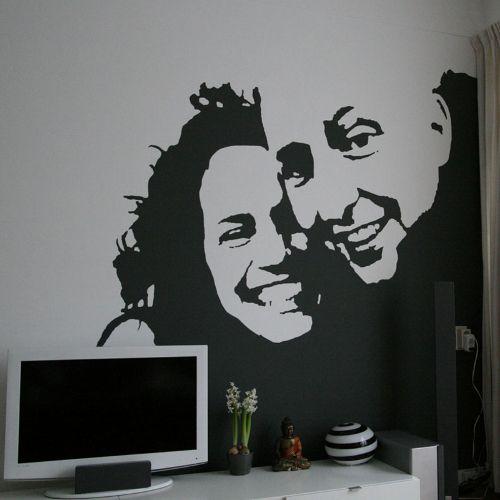 Muurschildering mezelf op de muur in zwart wit leuk slaapkamer hobby computer kamer idee - Kamer wanddecoratie kind ...