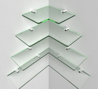 Modern Corner Shelf Glass Acrylic Shelving Chrome Fittings Included Cascading Ebay In 2020 Glass Corner Shelves Acrylic Shelf Glass Shelves