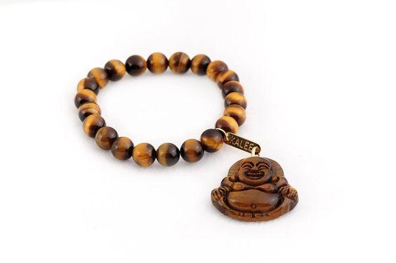 Bracelet œil de tigre bouddha pendant