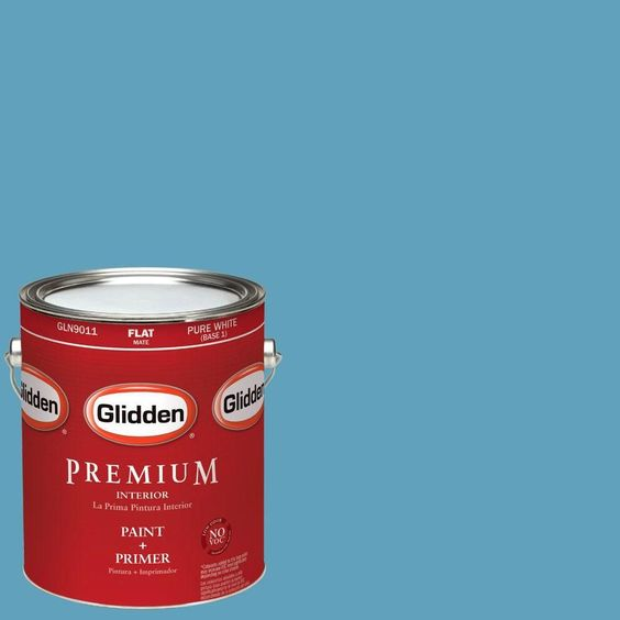 Glidden Premium 1-gal. #HDGB46D Hidden Harbor Blue Flat Latex Interior Paint with Primer