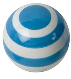 "Turquoise & white Striped Ceramic Drawer Pull by Berryware. $5.99. Perfect for kitchen or childrens rooms. Hand-painted ceramic knob or pull. Hardware included. Adds bright color to painted furniture and cabinets. Playful, colorful and fun!. Designed by artist Berry Silverman, from the design studio of Berryware, comes a complete collection of charming hand-painted ceramic knobs or pulls. Each knob is 1-1/2"" in diameter, about the size of a ping-pong ball, feels great in the h..."