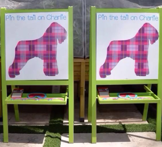 Puppy Themed Birthday Party. Pin The Tail On The Puppy. Custom sign and props by #bambinisoiree #designplanplay