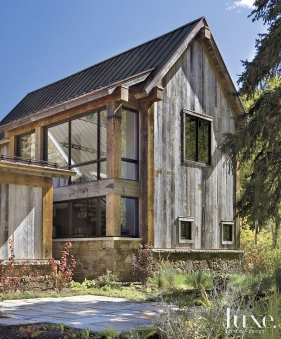 Modern mountain home rustic exterior and mountain homes for Modern rustic farmhouse plans