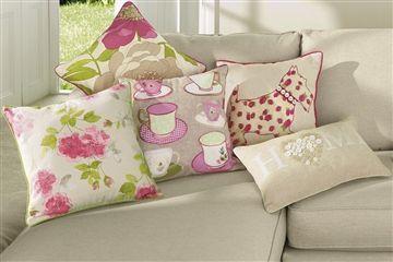 Cushions from Next: Spotty Dog, English Tea, Feeling, Cushions, Tea Shop, Tea Cups