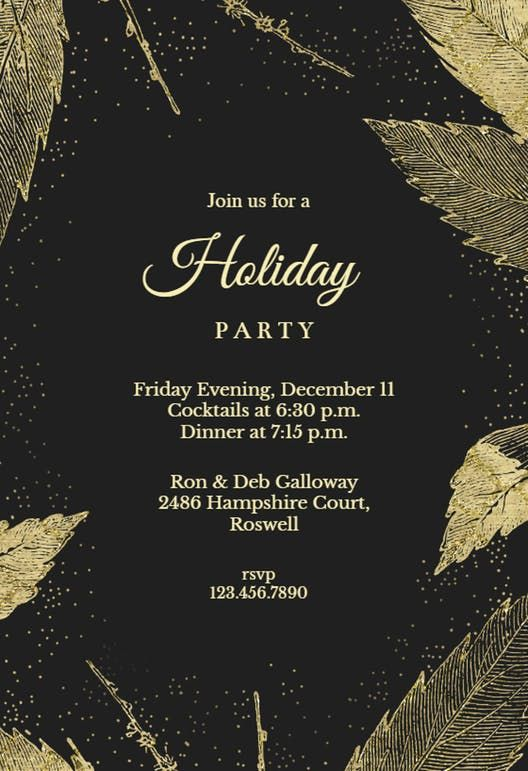 Golden Winter Leaves Party Invitation Template Free Holiday Invitations Birthday Invitation Templates Christmas Invitations