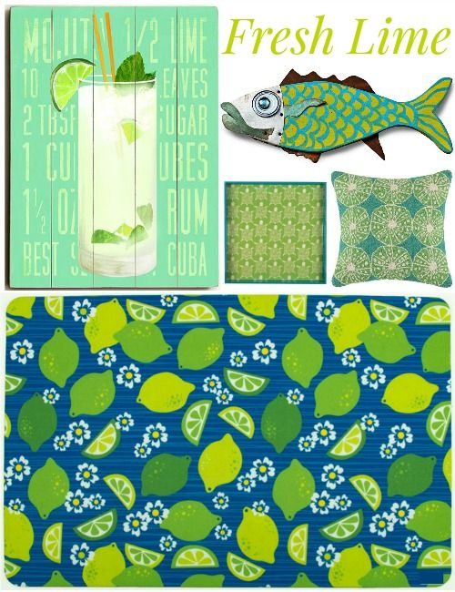 Fresh Lime Green Decor at Outer Banks Trading Group: http://www.completely-coastal.com/2016/05/lime-green-decor.html