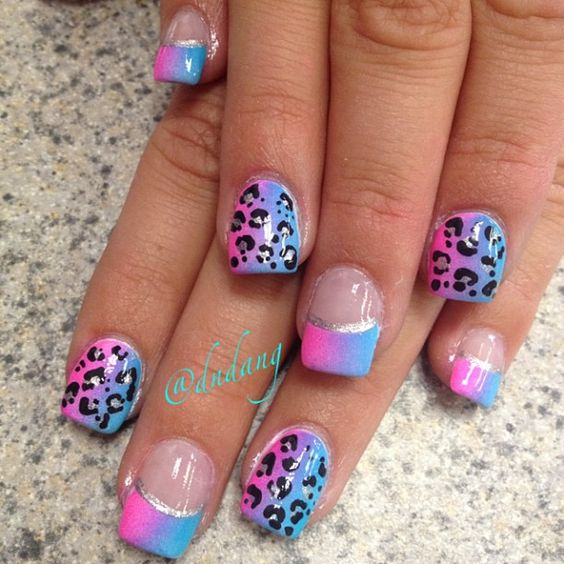 Totally Adorable Nails. Pink And Blue. I May Use The