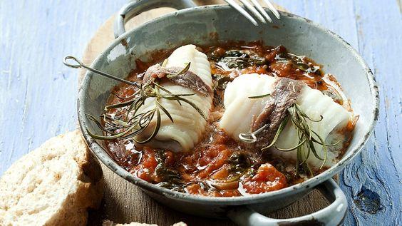 Stoofpotje van rog met spinazie en tomaat - Libelle Lekker