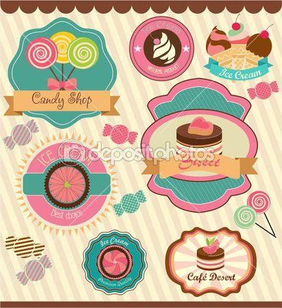 Etiquetas de la tienda de dulces
