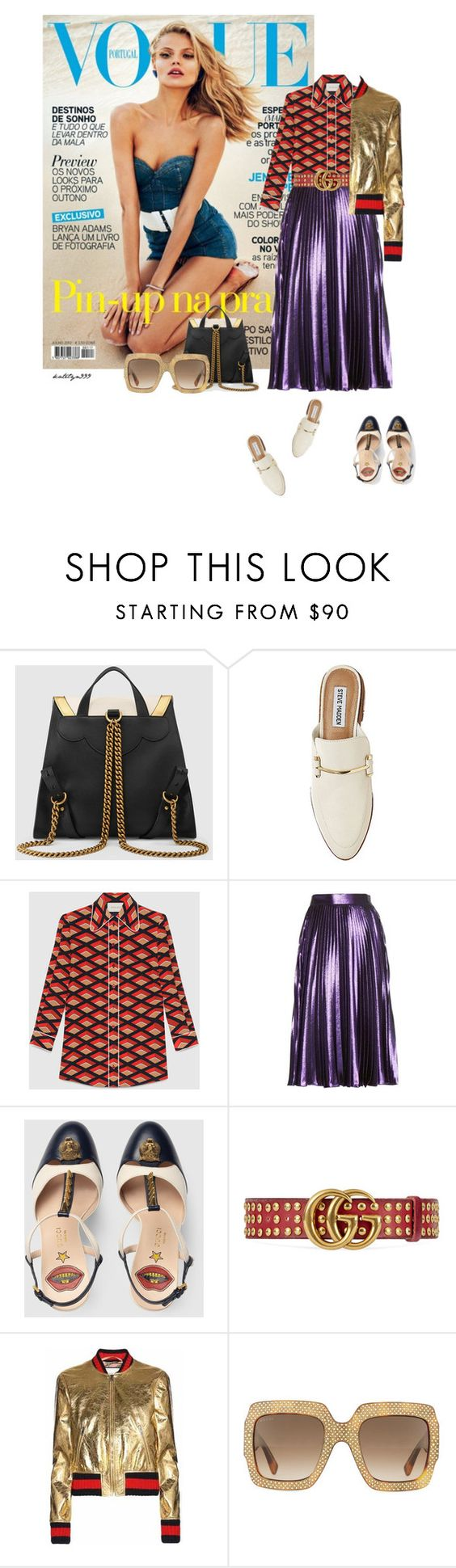 """""""Girl..."""" by katelyn999 ❤ liked on Polyvore featuring Magdalena, Gucci and Steve Madden"""