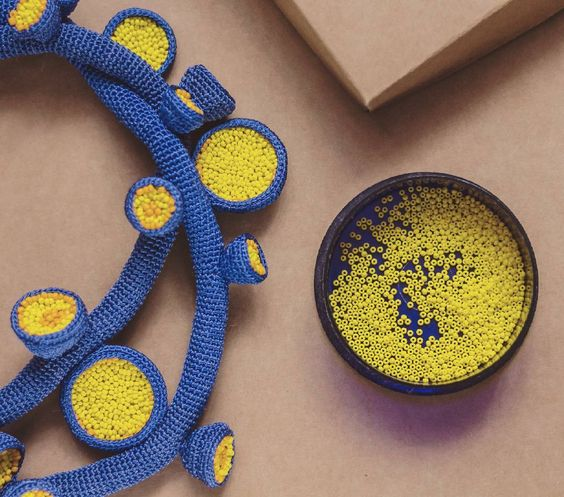 Lidia Puica  crochet necklace blue yellow
