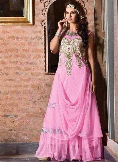 Terrific #Pink Net #Indowestern #Gown