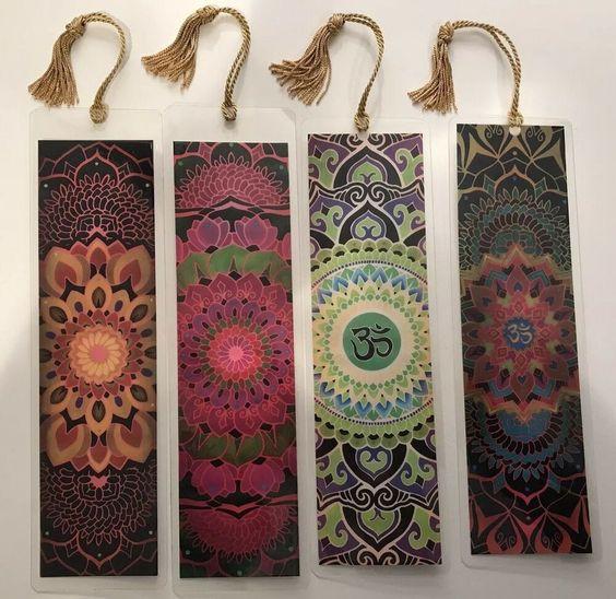 Jumbo Mandala Bookmarkers Lot Of 4 10 Mil Laminated Cardstock 10 X3 Ebay Mandala Diy Bookmarks Book Markers