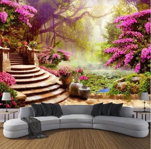 3d Garden With Pink Flowers And Forest Background Wallpaper For Walls Landscape Wallpaper Wall Wallpaper Large Mural