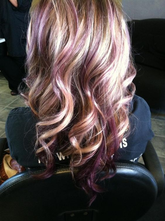 This is awesome. Blonde with purple lowlights. I'd love to do something like this to my hair, but maybe with more burgundy rather than purple. :)
